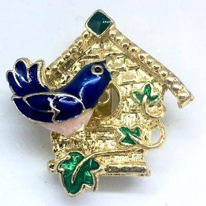 Jewelry - Vintage Bird House Brooch Blue Bird
